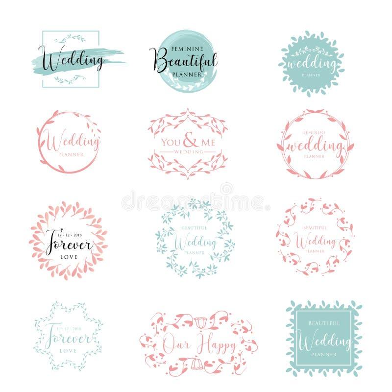 Elegante en Vrouwelijke Bloemen de inzamelings vectorillustratie van het huwelijksembleem royalty-vrije illustratie