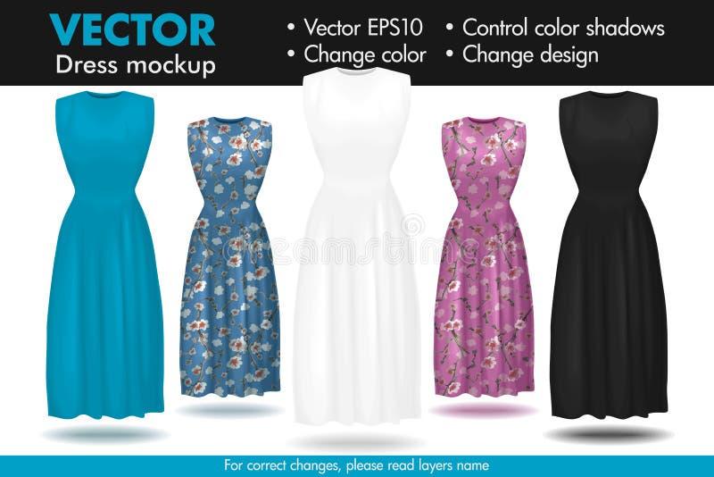Elegante för klänningmodellmallen anpassar den långa modellen för kjolmodeskyltdockan vektor illustrationer