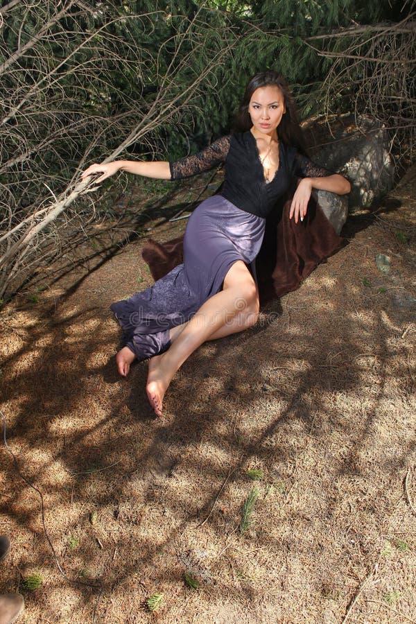 Elegante Frau, die in den Fichtenzweigen liegt stockbilder