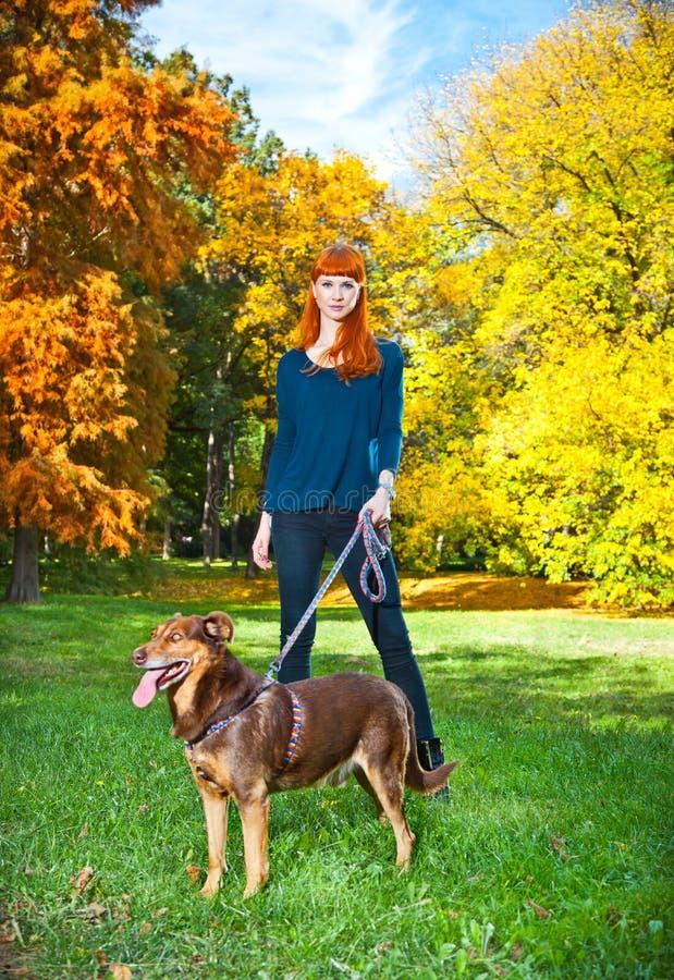 Elegante Frau hat Spaß mit ihrem großen Hund im Park lizenzfreie stockfotos