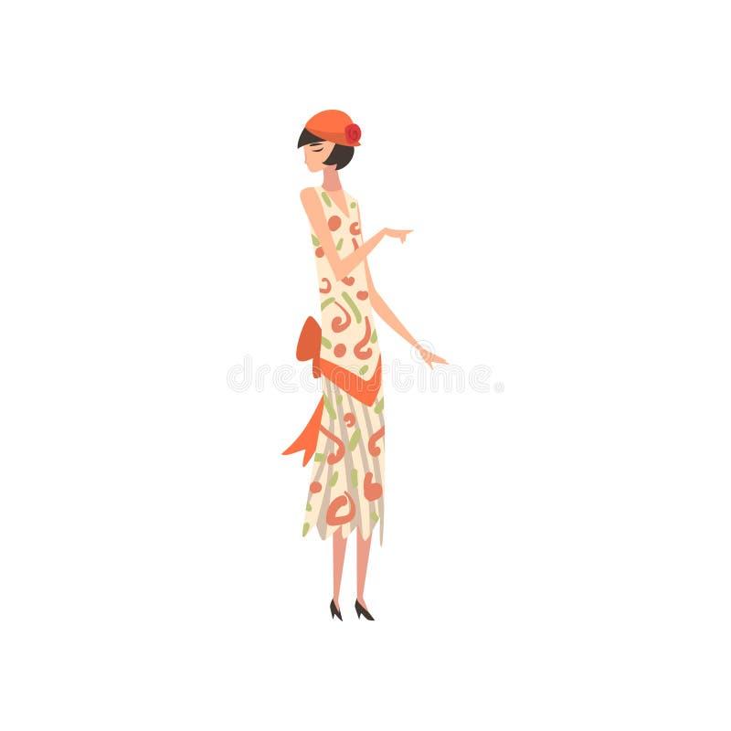 Elegante Frau im Sommer-Retro- Kleid und im Hut, schönes Mädchen von zwanziger Jahren, Art Deco Style Vector Illustration lizenzfreie abbildung