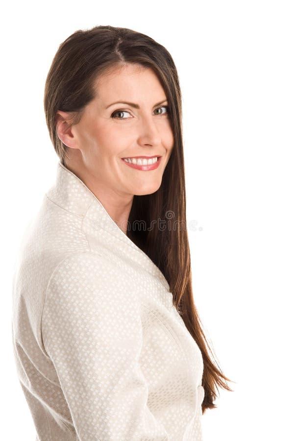 Elegante Frau mit dem langen Haar stockbild