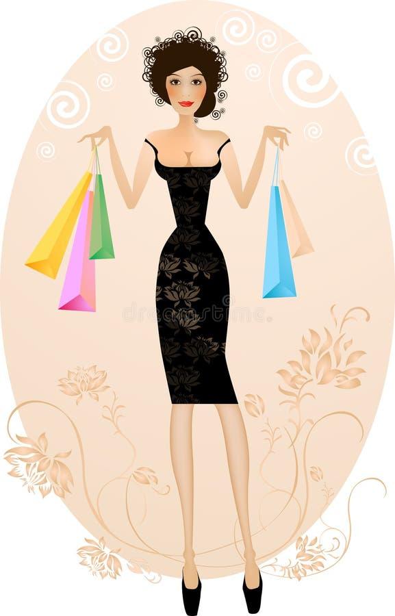 Elegante Frauen mit Kaufba lizenzfreie abbildung