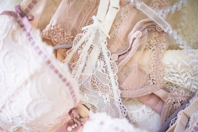 Elegante Frauen ` s Unterwäsche, Spitze bas, Wäschedetails stockbild