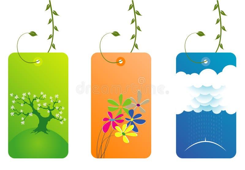 Elegante frische Visitenkarten mit Blättern stock abbildung