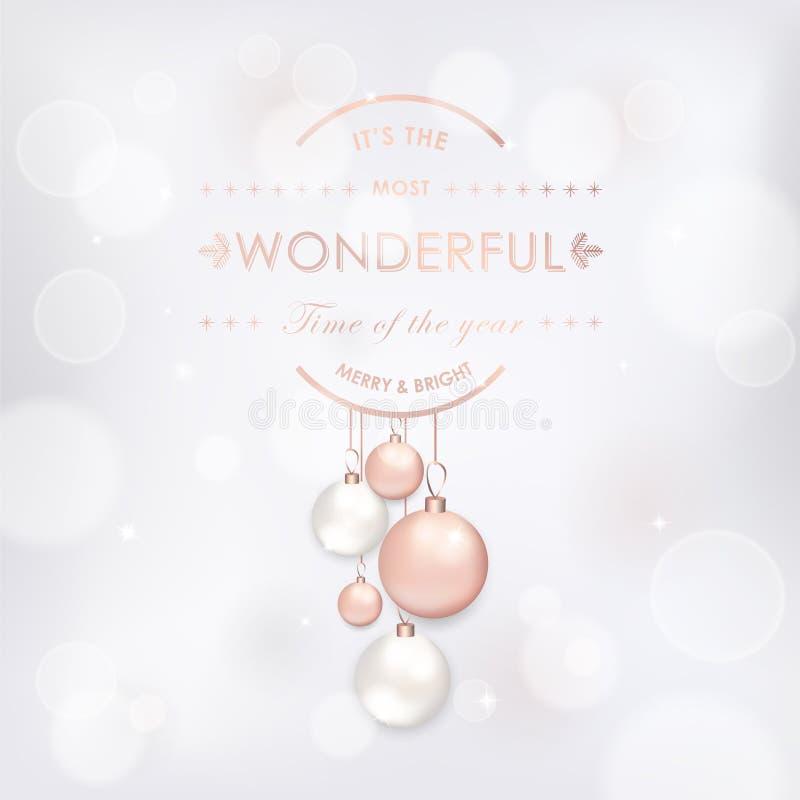 Elegante frohe Weihnacht-Karte mit Rose Gold Christmas Tree Balls für Einladung, Grüße und neues Jahr-Broschüre 2019 lizenzfreie abbildung