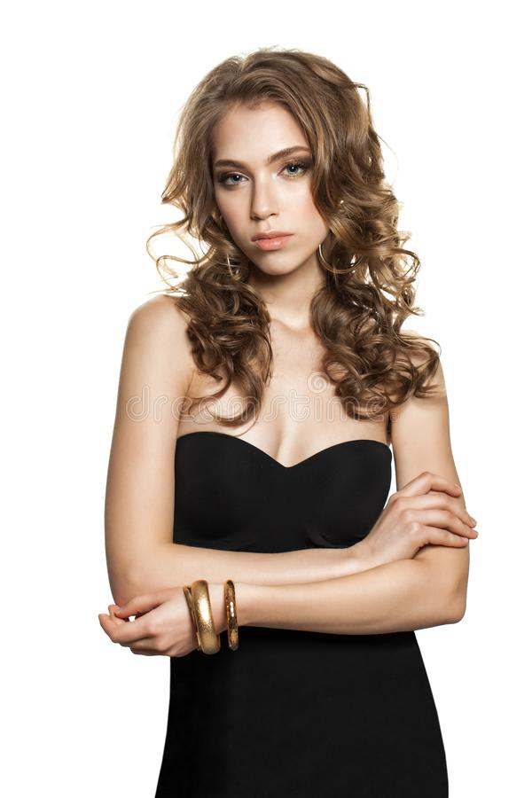 Elegante Geïsoleerde Vrouwenmannequin in Zwarte Kleding stock foto's