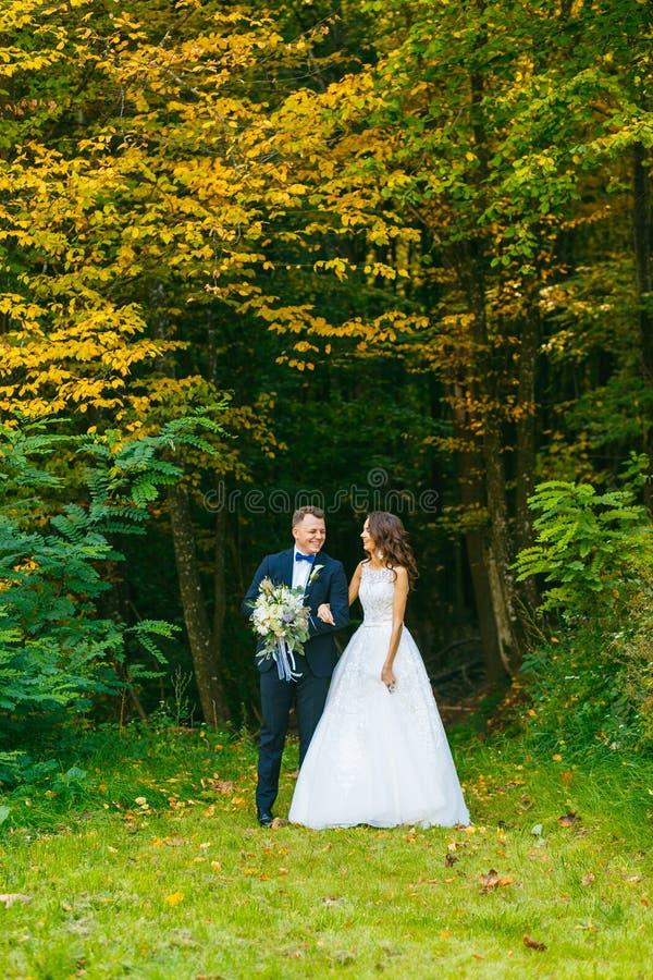 Elegante gelockte Braut und stilvoller Bräutigam lizenzfreies stockbild