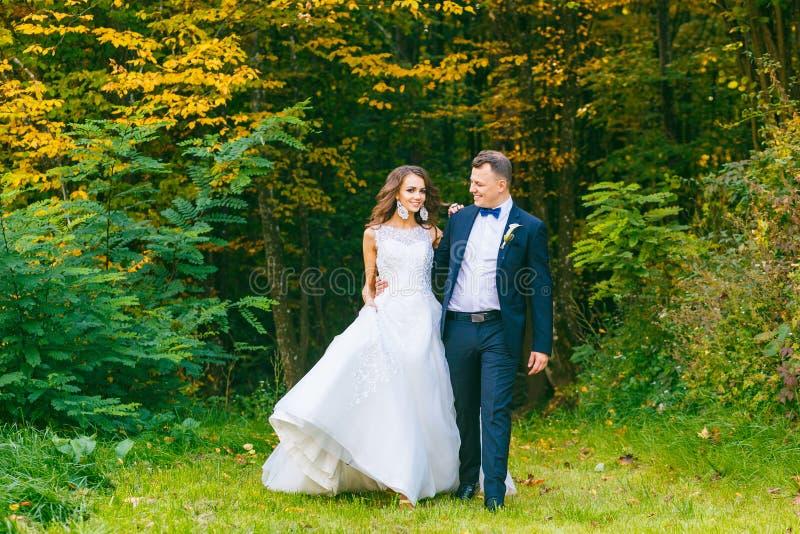 Elegante gelockte Braut und stilvoller Bräutigam lizenzfreie stockbilder