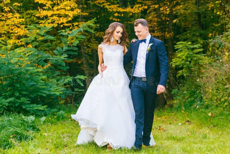 Elegante gelockte Braut und stilvoller Bräutigam stockfotografie