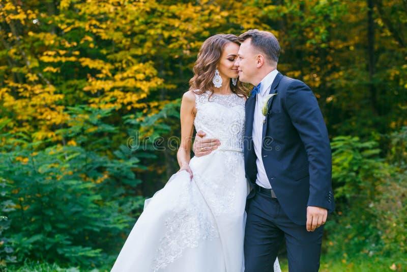 Elegante gelockte Braut und stilvoller Bräutigam stockfotos