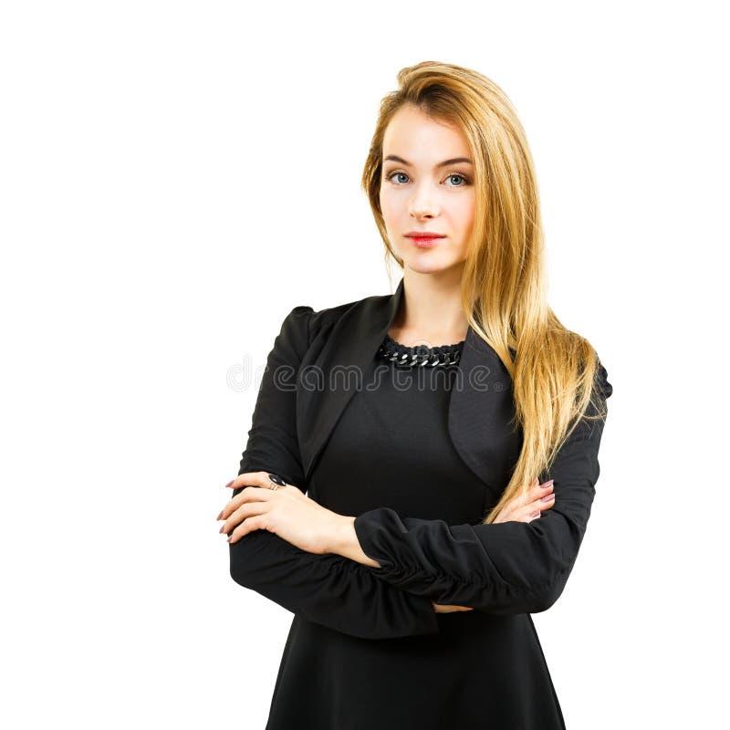 Elegante Geschäftsfrau im schwarzen Kleid lokalisiert auf Weiß stockfotos