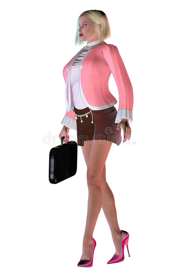 Elegante Geschäftsfrau mit rosa Kleid und hohen Absätzen, Illustration 3d lizenzfreie abbildung