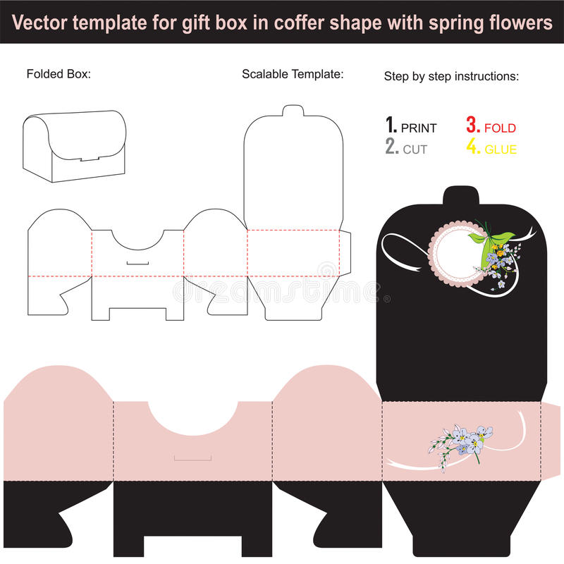 Elegante Geschenkbox in der Kistenform mit Hand gezeichneter Feder blüht stock abbildung