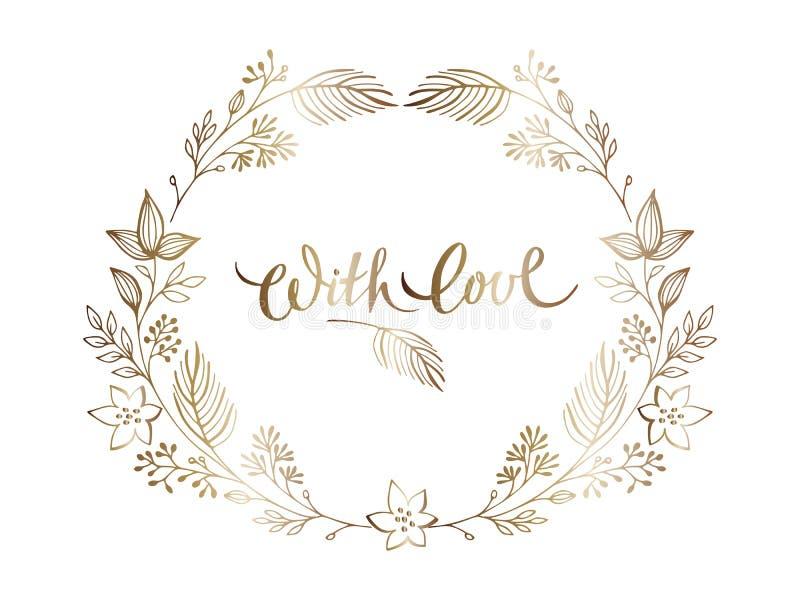 Elegante Goldblumenmusterschablonen Heiratende elegante Verzierung Goldbeschriftung im aufwändigen Blumenrahmen vektor abbildung