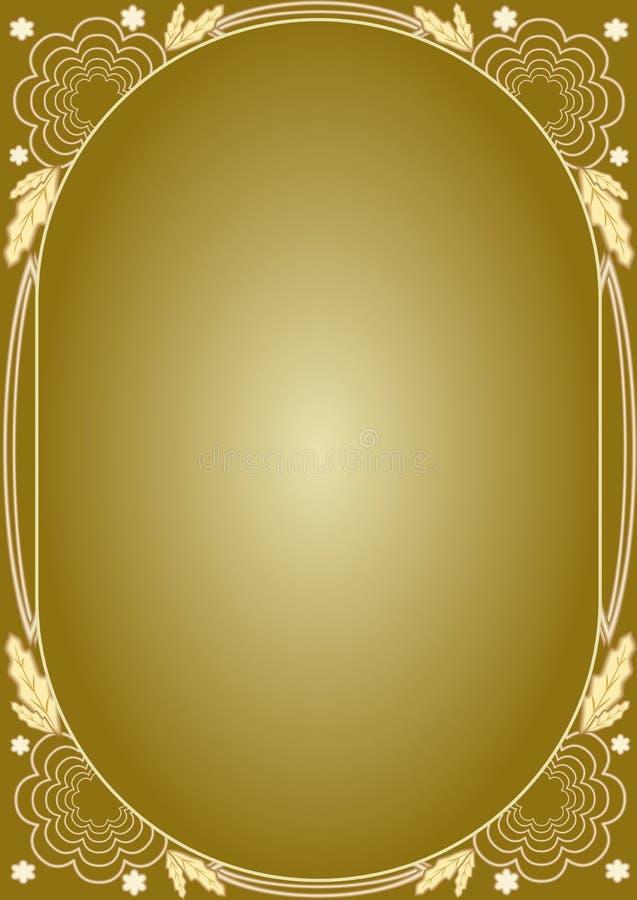 Elegante goldene Blumenluxusmuster Feld in der Art- DecoArt Luxuriöses ungewöhnliches Dokumentendesign für Zertifikat, Diplom, vo stock abbildung