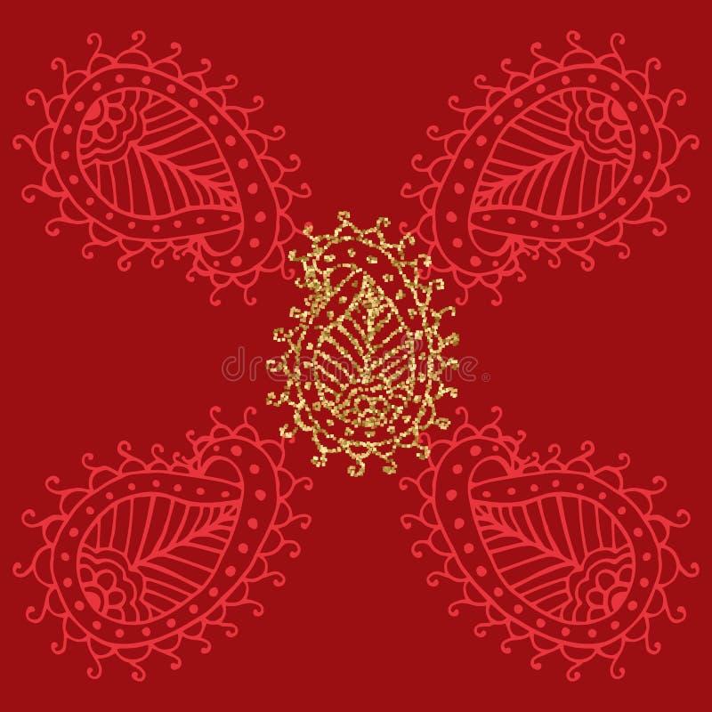 Elegante goldene Rahmenfahne mit Goldkrone, Lorbeerkranz auf aufwändigem rotem Hintergrund Luxusblumenhintergrund in der Weinlese lizenzfreie abbildung