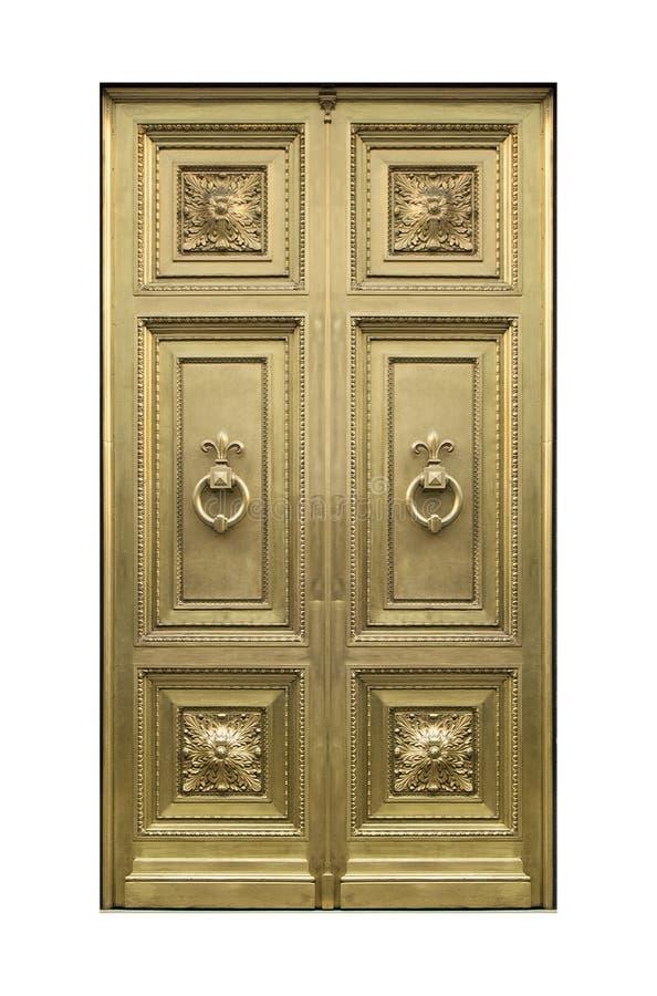 Elegante goldene Tür Front View Isolated Foto stockfotos