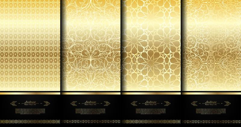 Elegante gouden arabesqueachtergrond van het patroon Islamitische element templat royalty-vrije illustratie