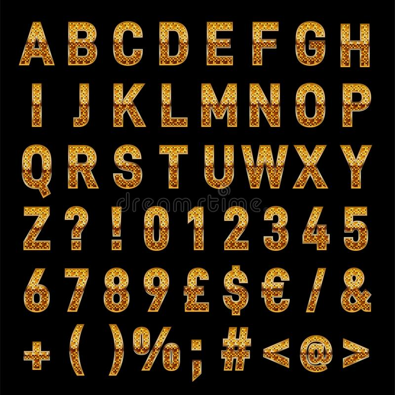 Elegante Gouden Vectoralfabetletters en Getallen Download vector illustratie