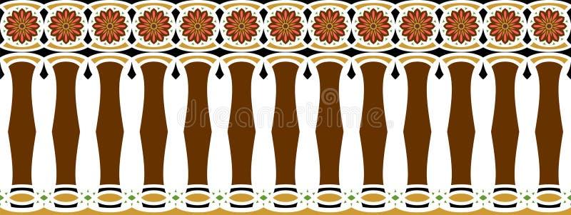 Elegante, großartige und dekorative Grenze der hindischen und arabischen Inspiration der verschiedenen Farben, Braun, goldenes, s lizenzfreie abbildung