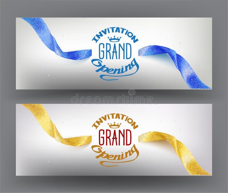 Elegante grote het openen uitnodigingskaart met fonkelende linten stock illustratie