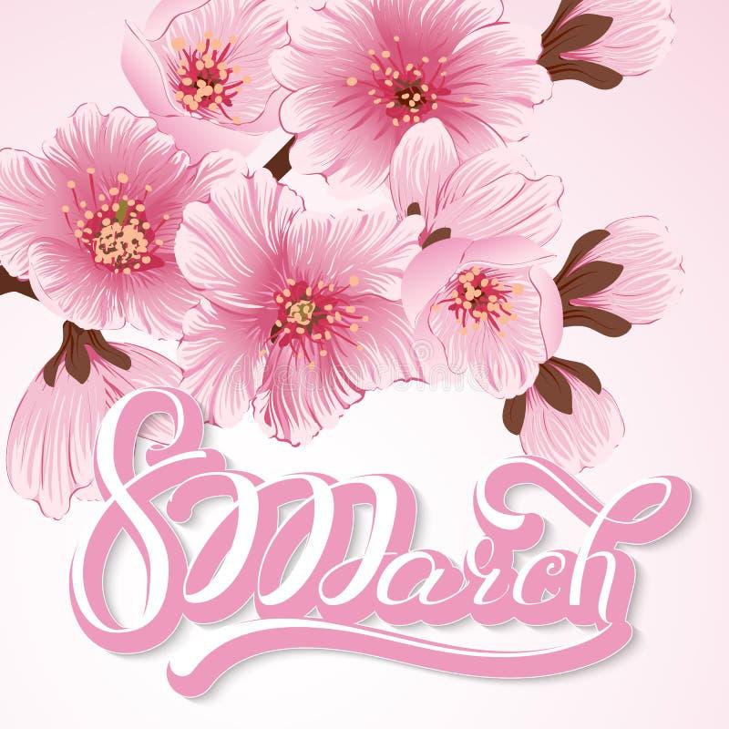 Elegante Grußkarte 8. März internationaler Frauen ` s Tag Kirschblüte-Blumen, Kirschblüte lizenzfreie abbildung