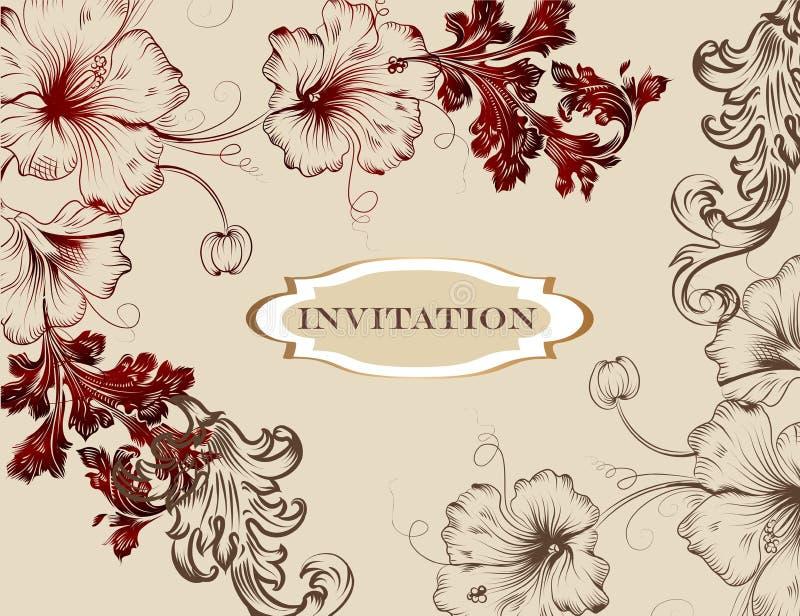 Elegante hand getrokken uitnodigingskaart in bloemenstijl royalty-vrije illustratie