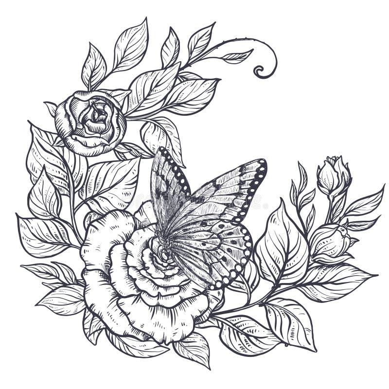 Elegante Handgezogener grafischer Blumenstrau? mit rosafarbenen Blumen und Bl?tter und Schmetterling lizenzfreie abbildung