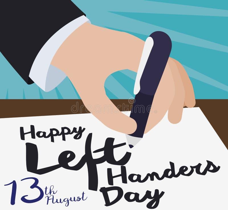 Elegante Handschrift eine Gruß-Mitteilung für internationale Linkshänder Tag, Vektor-Illustration stock abbildung