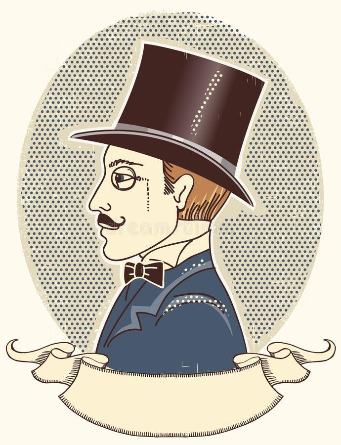 Elegante heer in een hoogste zwarte hoed. Vector vintag royalty-vrije illustratie