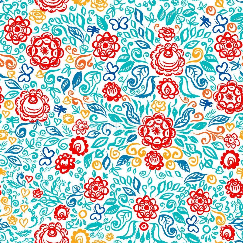 Elegante Heiratseinladung nahtloser Mustervolkskunst-Blumenverzierung Weinlese mit ethnische Blumen des Sommers rotem blauem oran stock abbildung