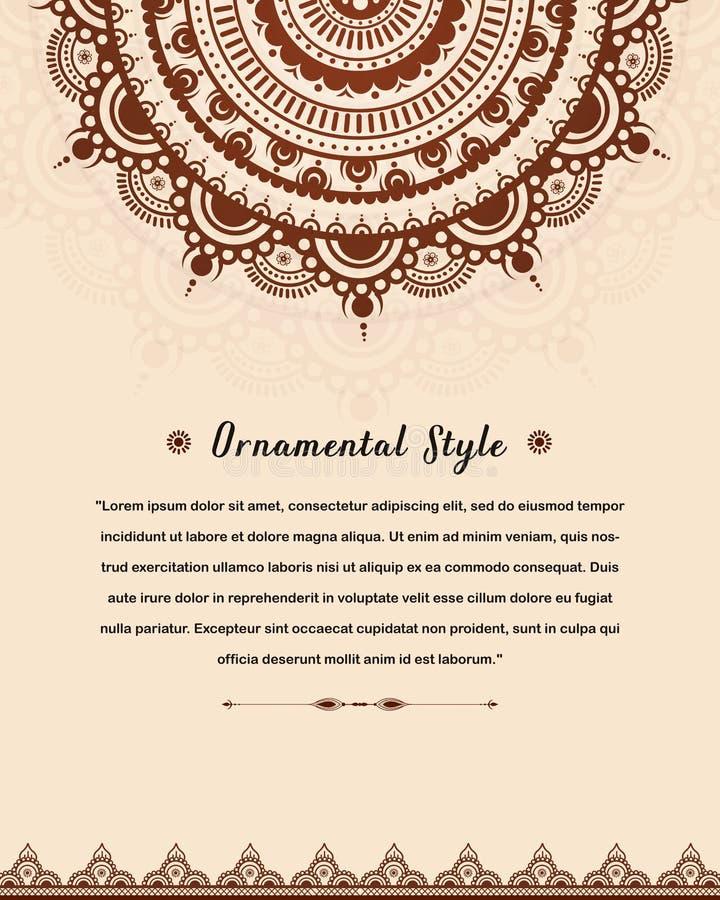 Elegante Heiratseinladungskartenschablone mit Mandala stock abbildung