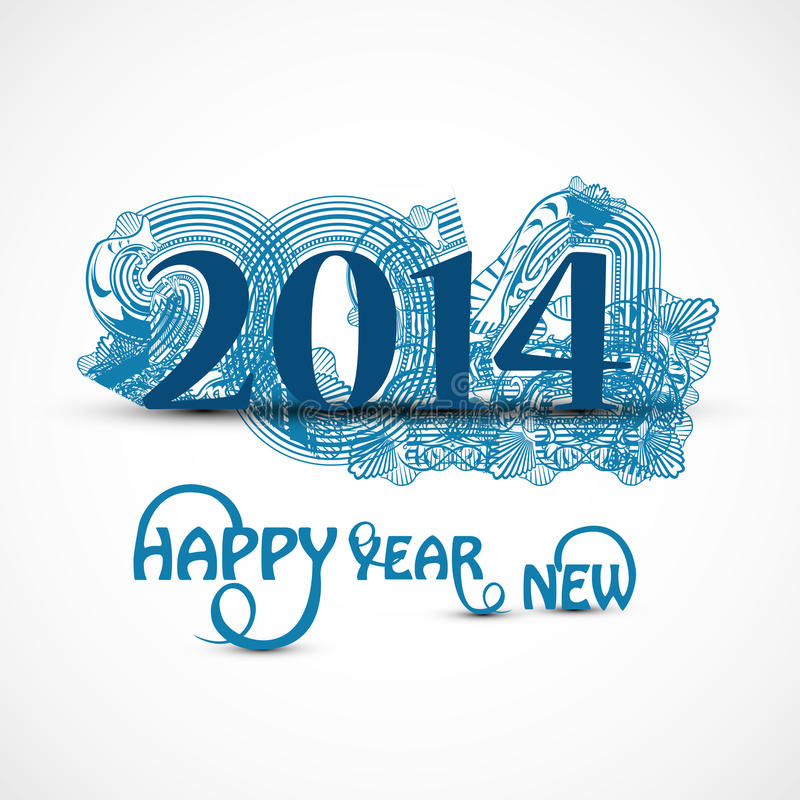 Elegante hermoso de la celebración 2014 de la Feliz Año Nuevo ilustración del vector
