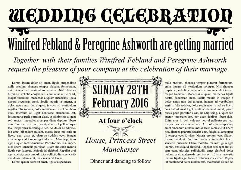 elegante Hochzeitseinladung der alten Zeitungsart lizenzfreie abbildung