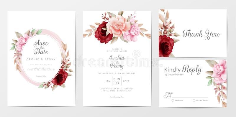 Elegante Hochzeitseinladungskarten-Template mit Aqufarbblumen Dekoration lizenzfreie abbildung