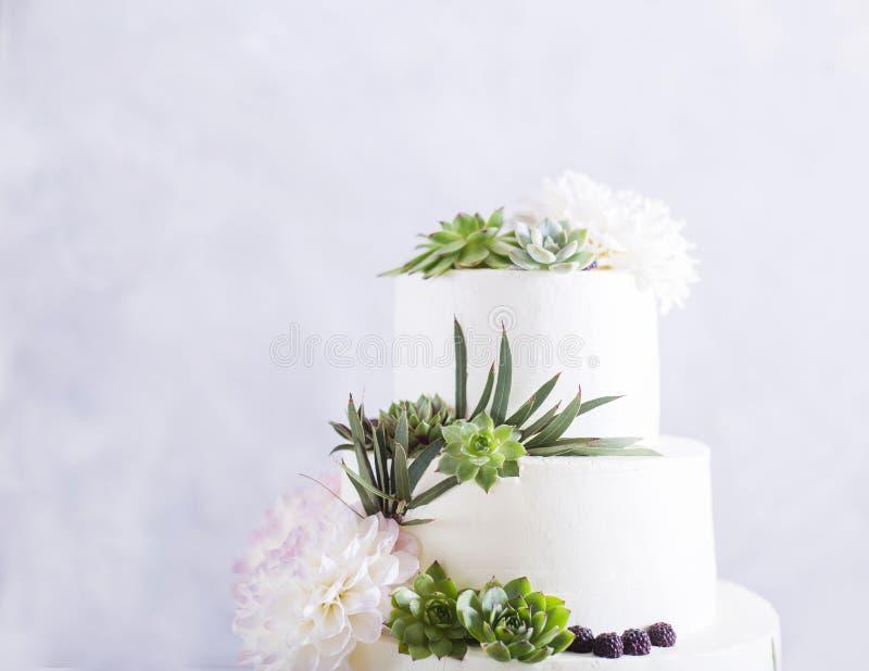 Elegante Hochzeitstorte mit Blumen und Succulents lizenzfreie stockfotos