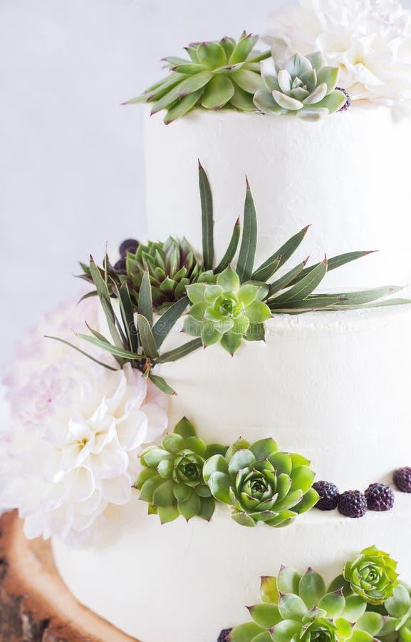 Elegante Hochzeitstorte mit Blumen und Succulents stockfotos