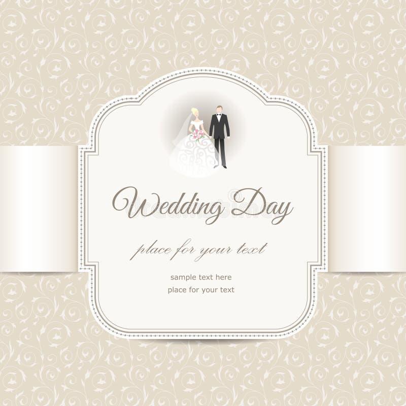 Elegante huwelijkskaart stock illustratie