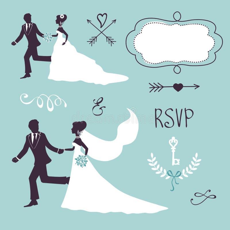Elegante huwelijksparen in silhouet stock illustratie