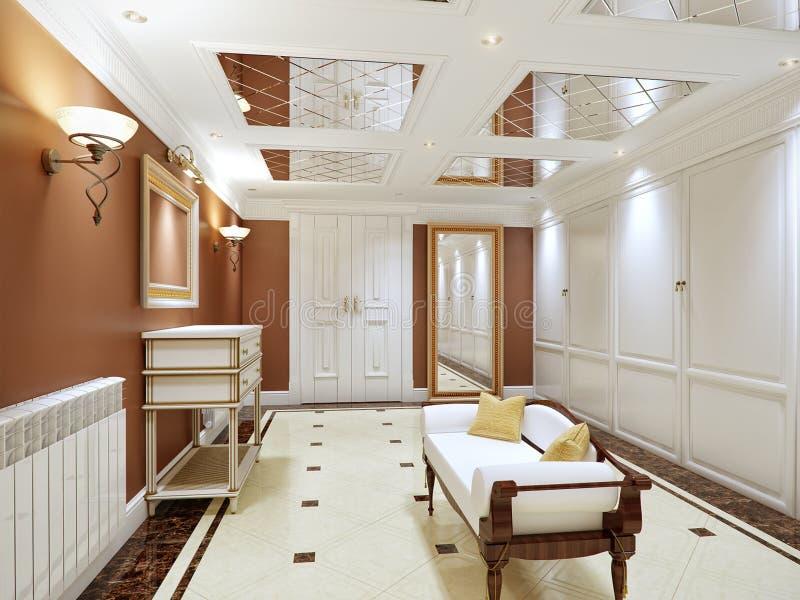 Elegante Innenarchitektur der klassischen und luxuriösen Halle stock abbildung