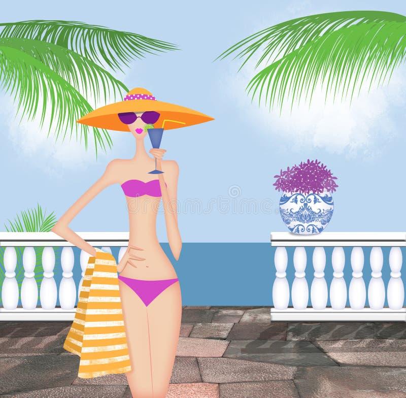 Elegante Jonge Vrouw in een Bikini die een Drank houden vector illustratie