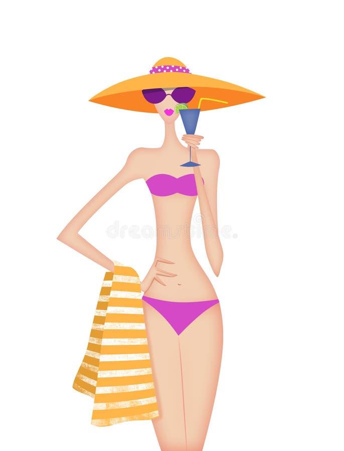 Elegante Jonge Vrouw in een Bikini die een Drank houden stock illustratie