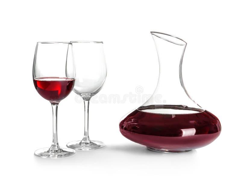 Elegante karaf met rode wijn stock afbeelding