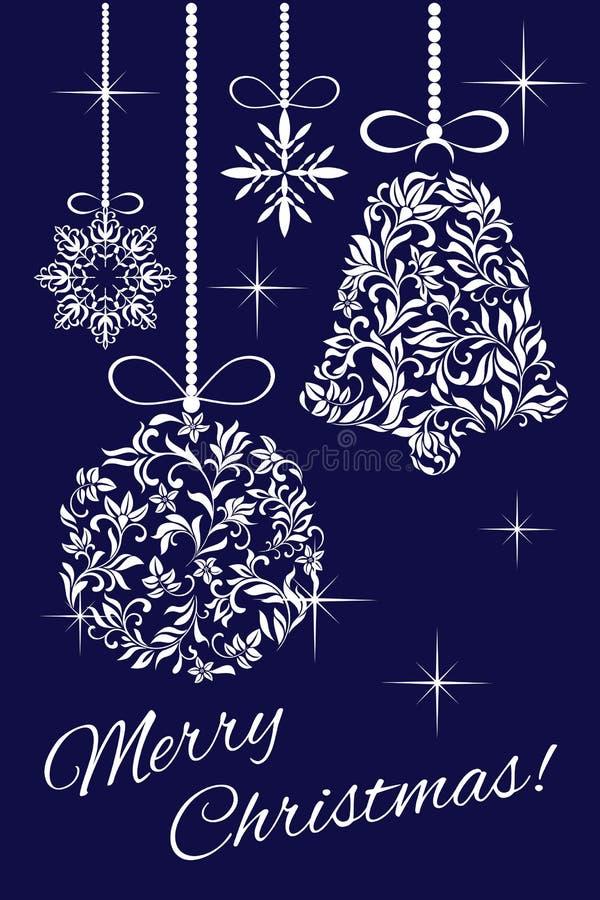 Elegante Karte - frohe Weihnachten! Weihnachtsdekorationen von einer Blumenverzierung vektor abbildung