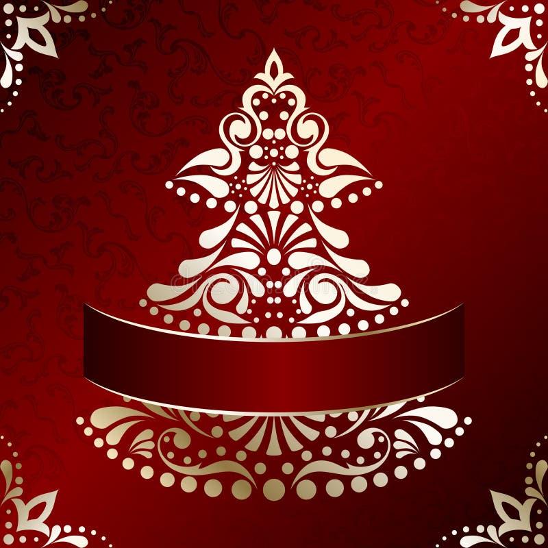 Elegante Kerstkaart met Kerstboom stock illustratie