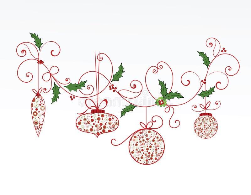 Elegante Kerstmis bloeit en snuisterijen royalty-vrije illustratie