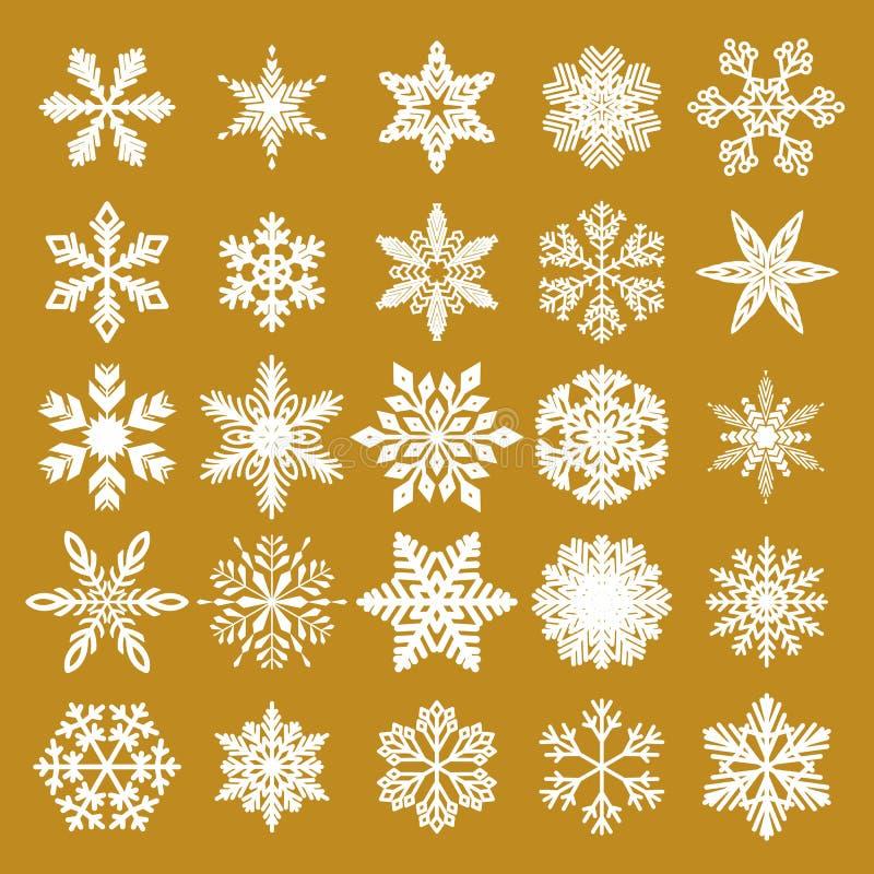 Elegante Kerstmis Gouden Achtergrond met Witte Sneeuwvlokken Vector illustratie Verpakkend document Naadloos grafisch patroon stock illustratie