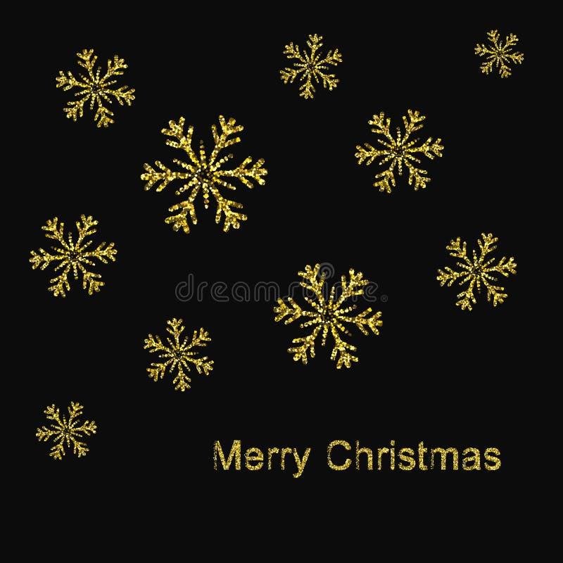 Elegante Kerstmisachtergrond met Glanzende Gouden Sneeuwvlokken Vector illustratie stock illustratie