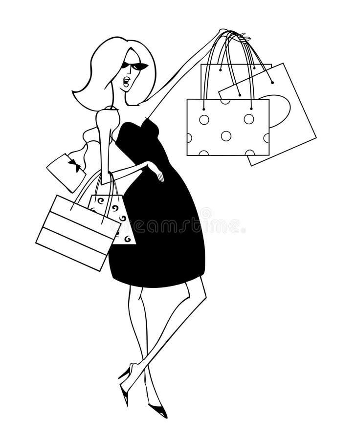 Elegante Klant die het Winkelen Zakken steunen royalty-vrije illustratie